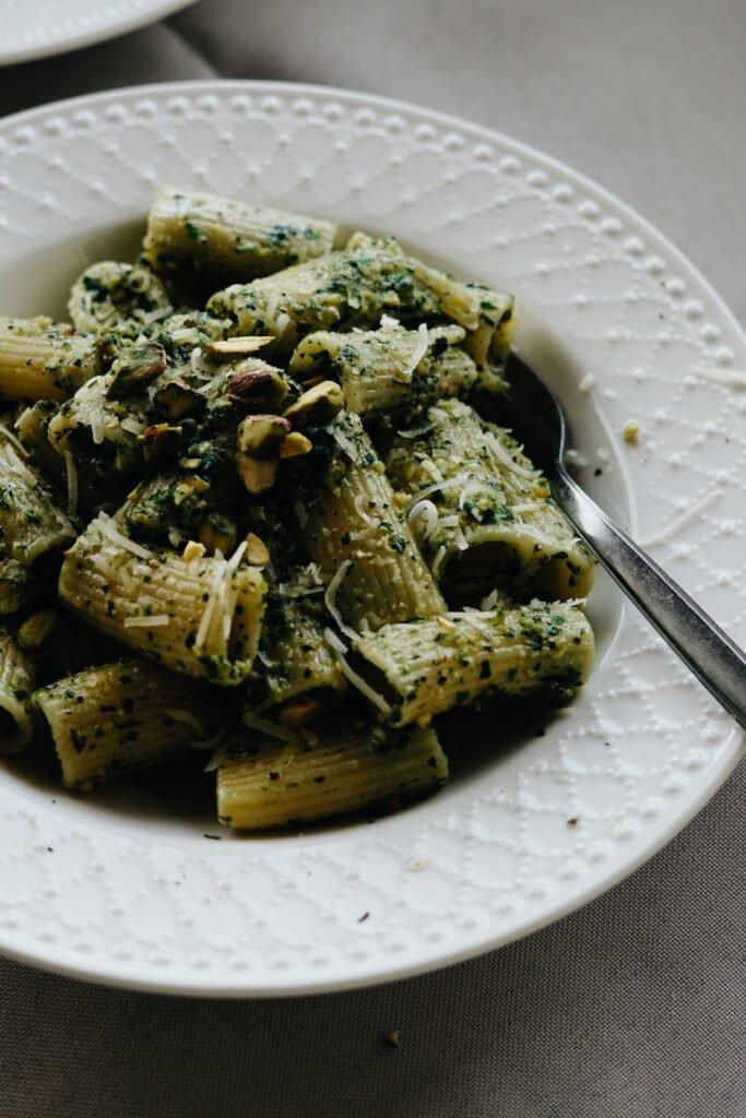 Makaron z miętowym pesto pistacjowym 7
