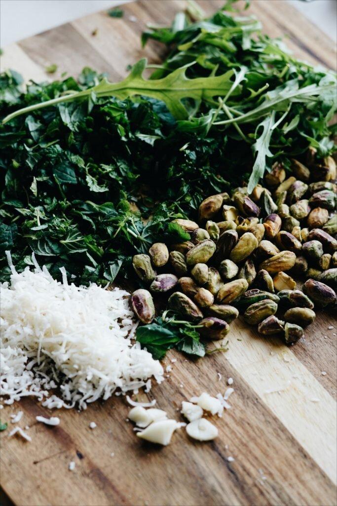 Makaron z miętowym pesto pistacjowym 9