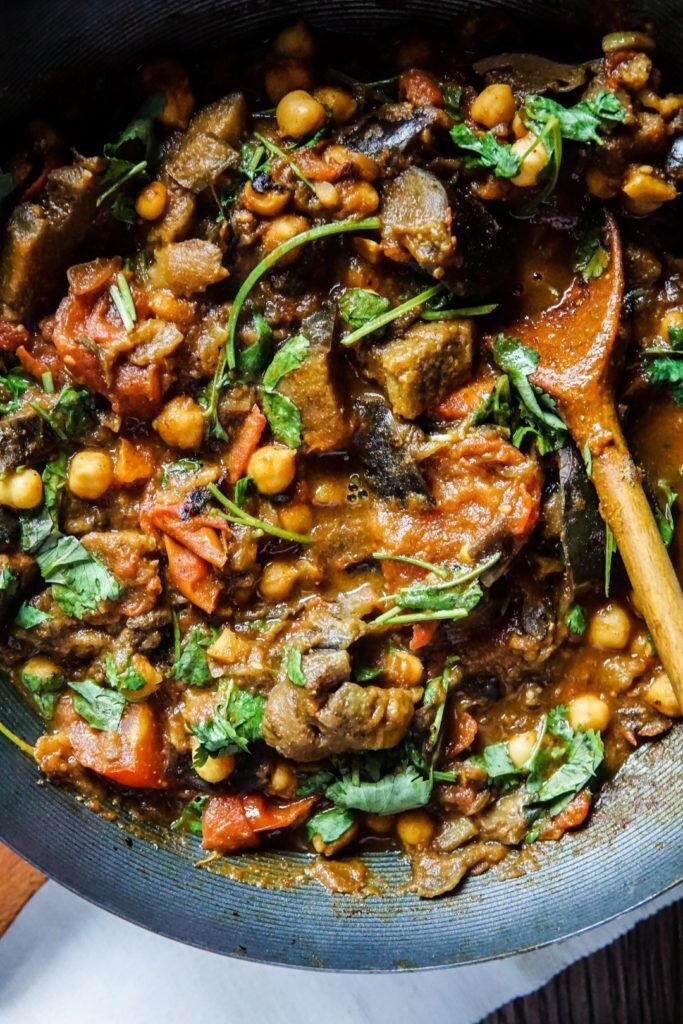 Curry z bakłażanem i ciecierzycą 6