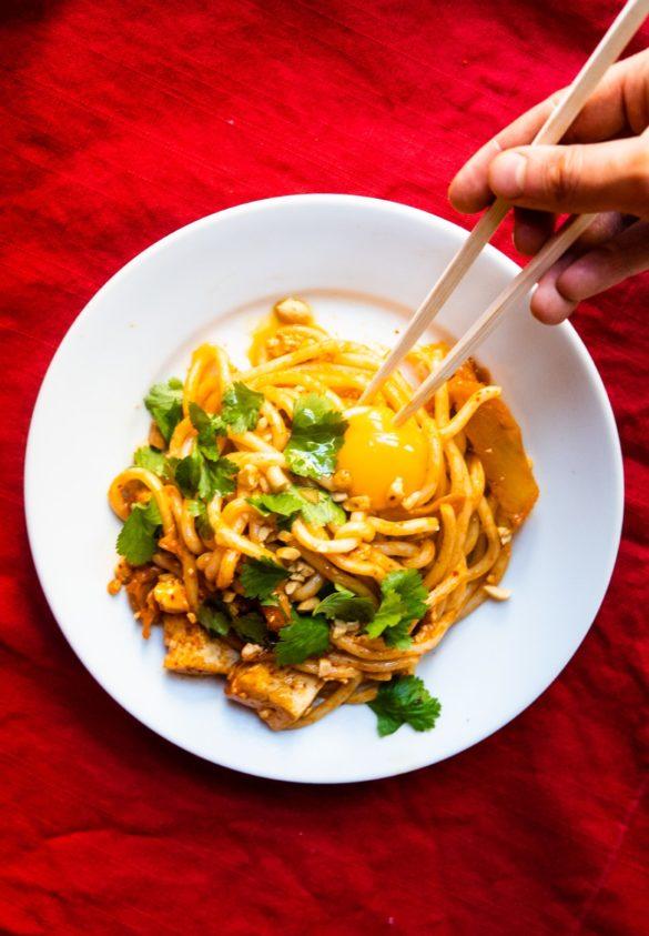 Kluski z kimchi, tofu i żółtkiem (w 15 minut) 2