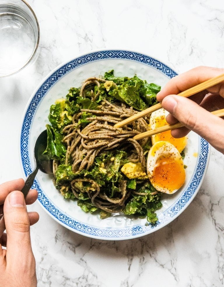 Soba Noodles with Avocado Sauce and 6-minute Egg 2