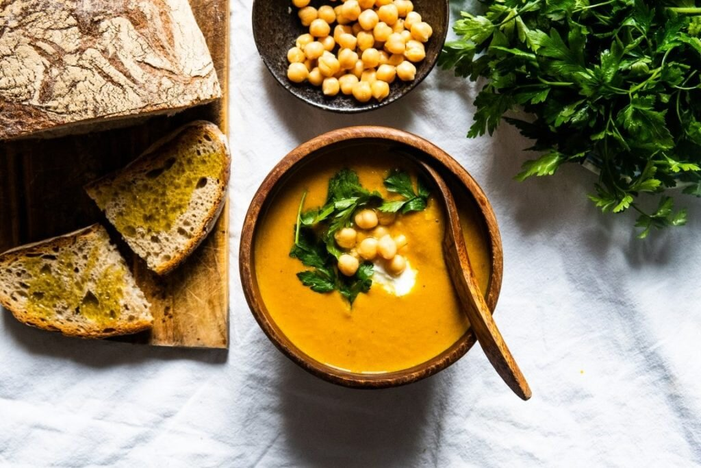 Roasted Carrot Soup with Peanut Butter and Chickpea 1