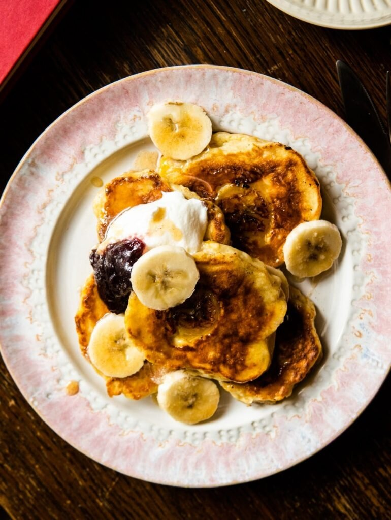 Fluffy Banana Pancakes with Buttered Cinnamon Honey 1