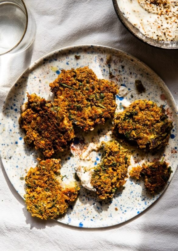 Green Lentil & Salt-Brined Pickles Fritters with Grainy Mustard Dip 10