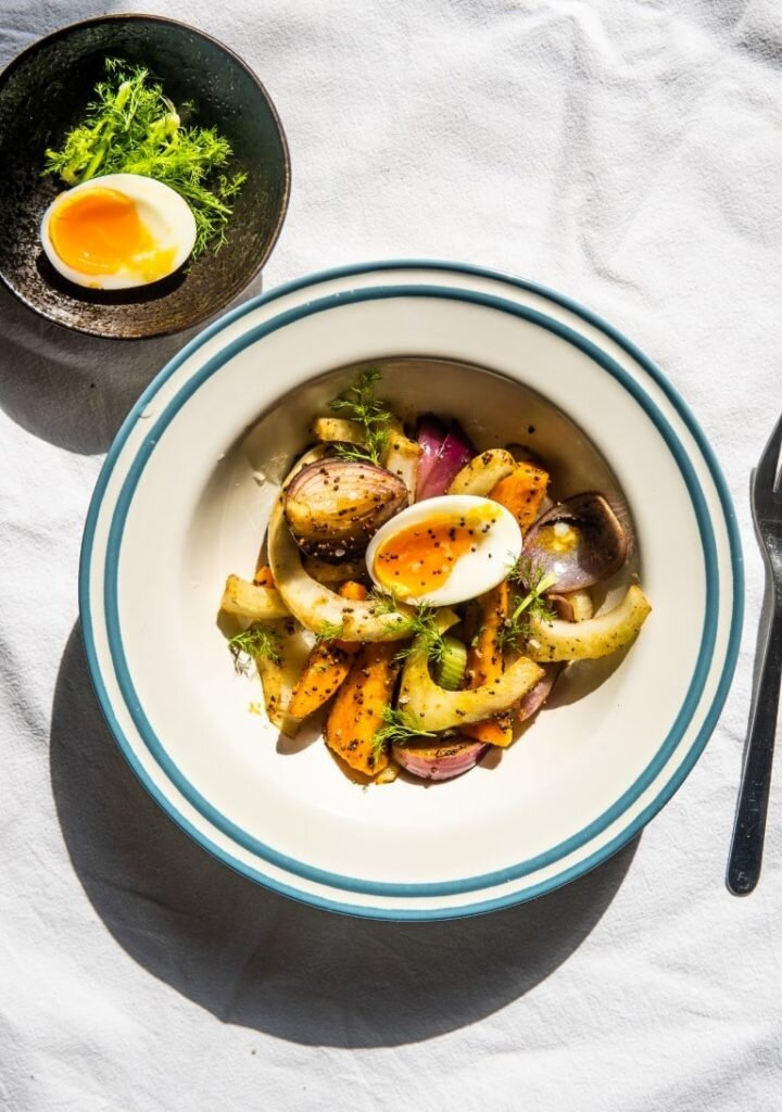 Sautéed Fennel with Sweet Potato, Mustard Seeds and 6-minute Eggs 2