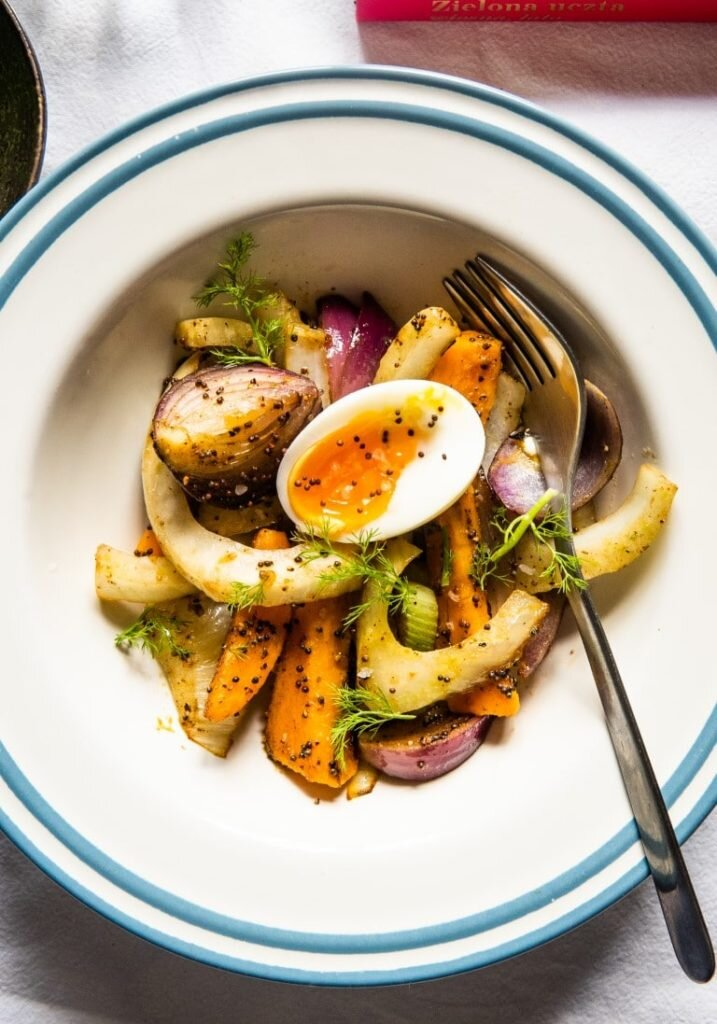 Sautéed Fennel with Sweet Potato, Mustard Seeds and 6-minute Eggs 1